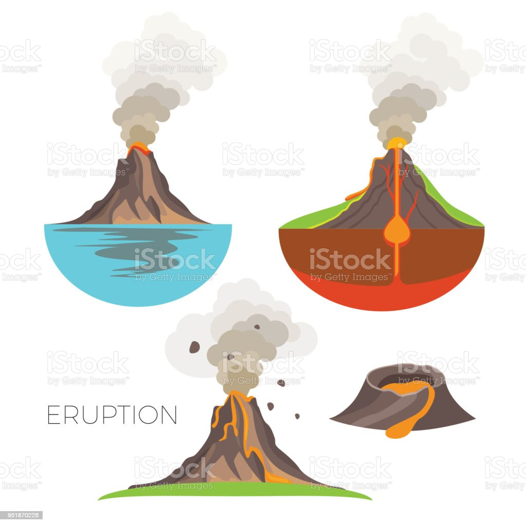 Volcano eruption with hot lava and dark smoke vector art illustration