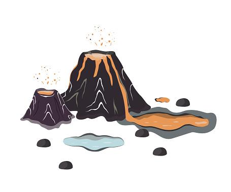 Volcano eruption with hot lava. Cartoon Jurassic landscape design elements, vector illustration