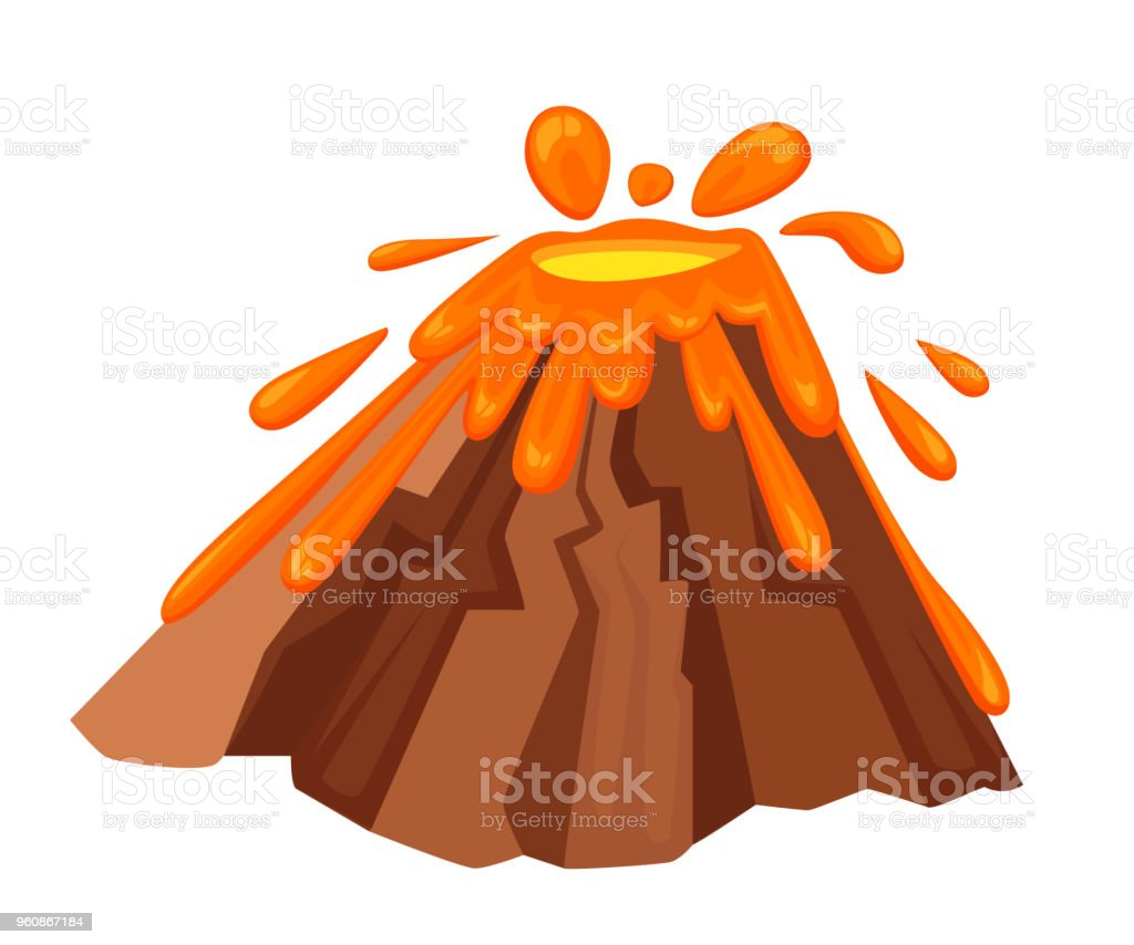 Volcano Eruption With Hot Lava Illustration Geological Disasters In ...