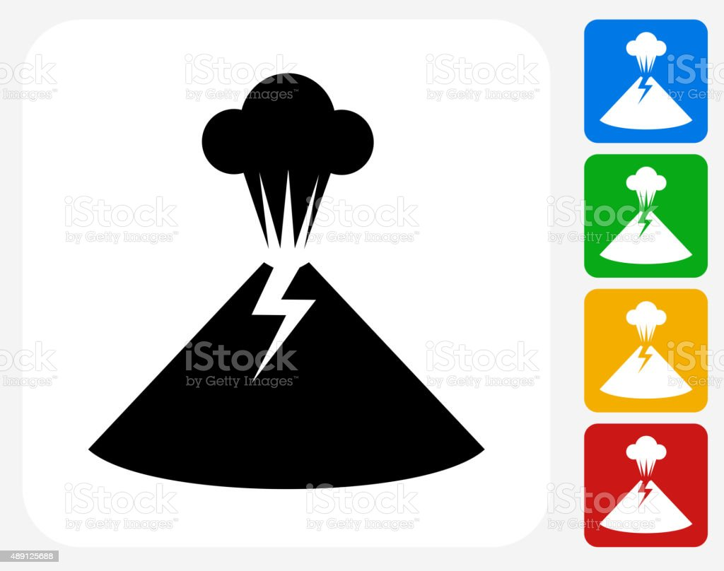 Volcano Icon Flat Graphic Design vector art illustration