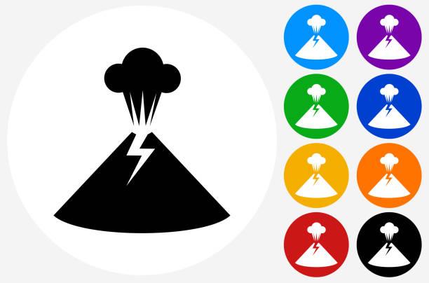volcano icon on flat color circle buttons - vulkane stock-grafiken, -clipart, -cartoons und -symbole