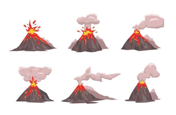Volcano Icon Set. Flat vector illustration. Isolated on white background. Volcano Icon Set. Colorful flat vector illustration. Isolated on white background. volcano stock illustrations