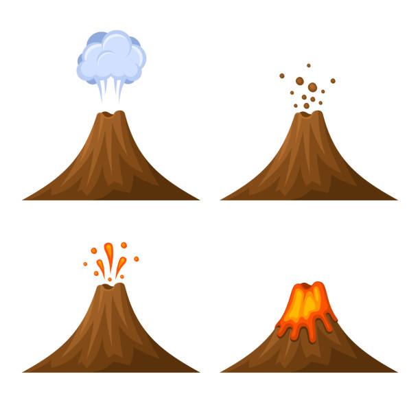 stockillustraties, clipart, cartoons en iconen met volcano icon set isolated on white background. vector - vulkaan
