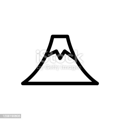 volcano icon vector. Thin line sign. Isolated contour symbol illustration