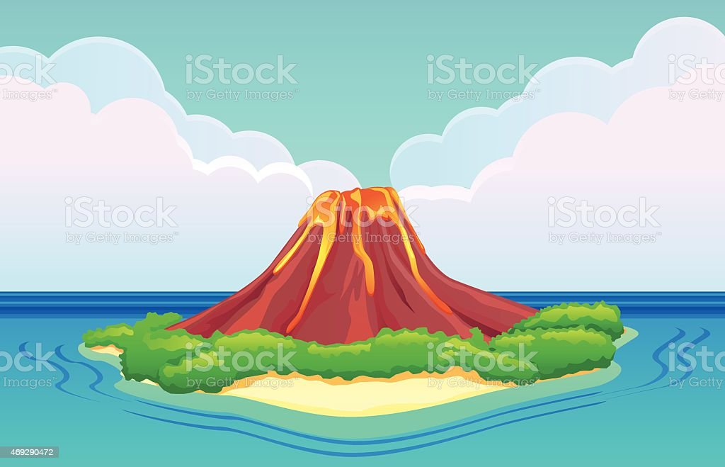 Volcano Island with lava flowing vector art illustration