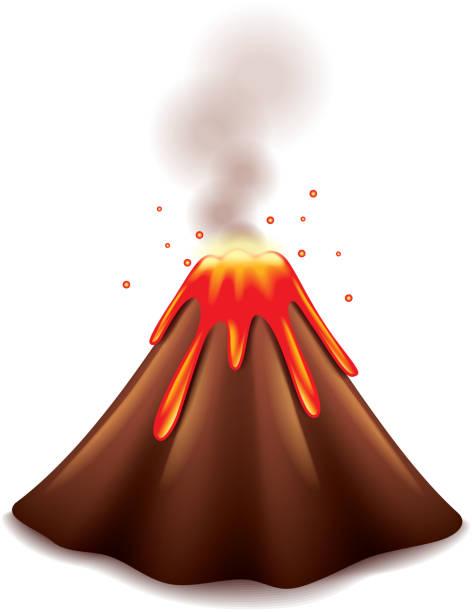 vulkan, isoliert auf weißem vektor - - vulkane stock-grafiken, -clipart, -cartoons und -symbole