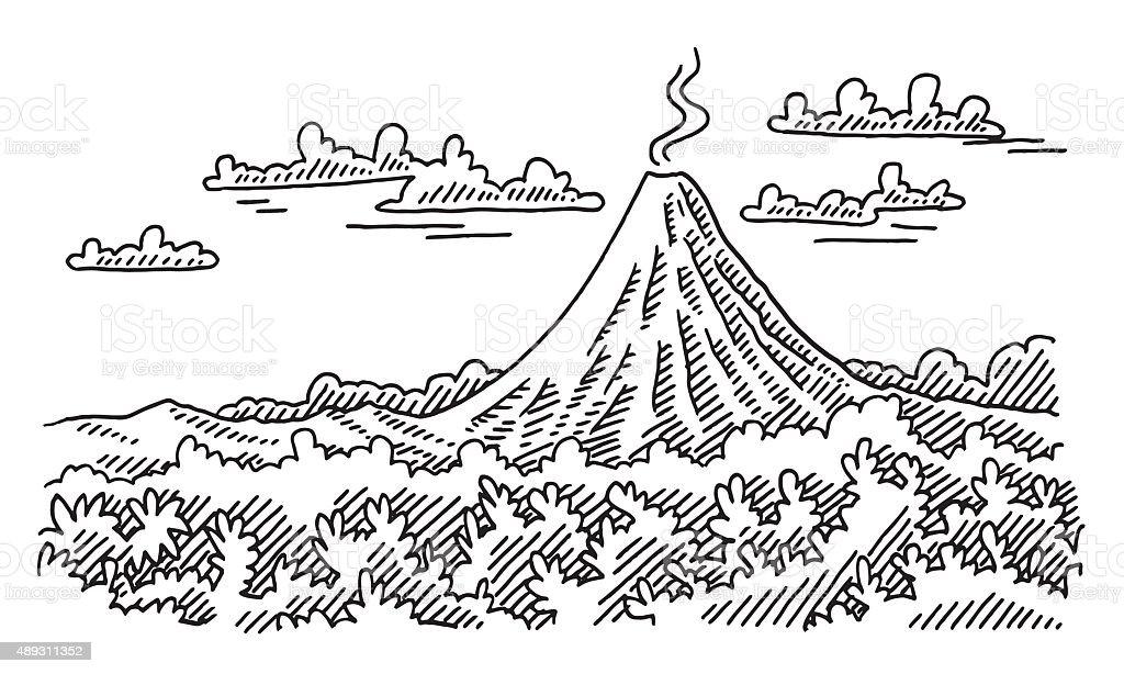 Volcano Landscape Drawing vector art illustration