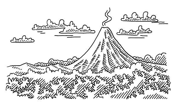 vulkan landschaft abbildung - vulkane stock-grafiken, -clipart, -cartoons und -symbole