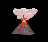Volcano mountain exploding. Flat vector illustration. Isolated on black background.