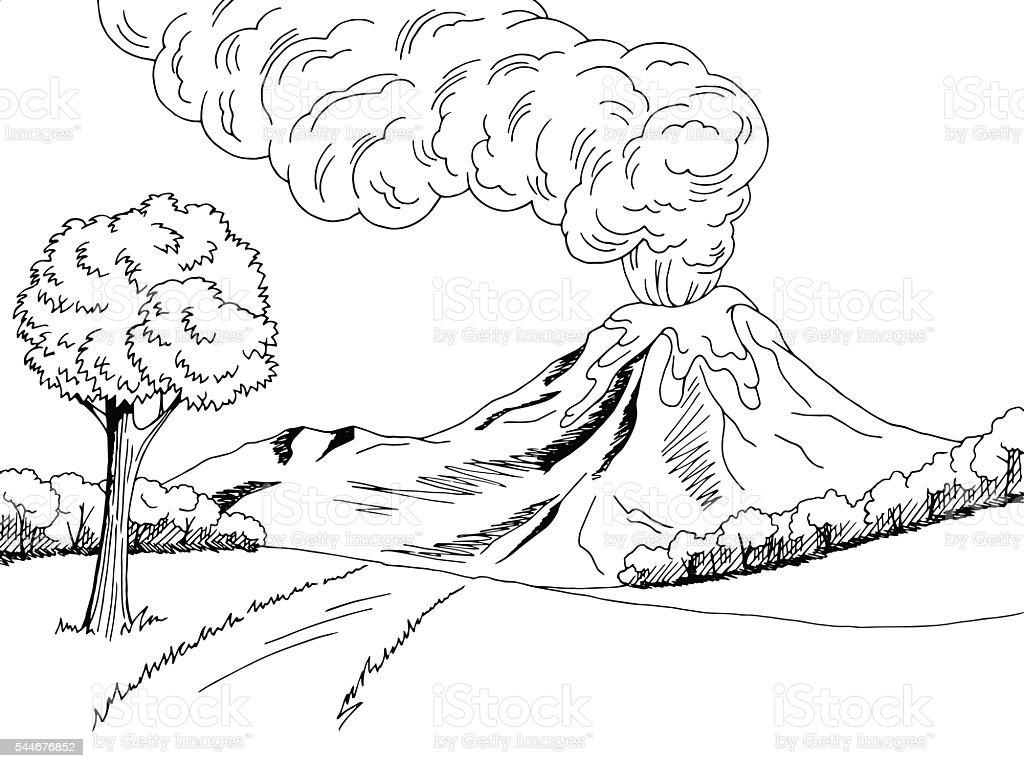 volcano mountain hill road graphic black white sketch