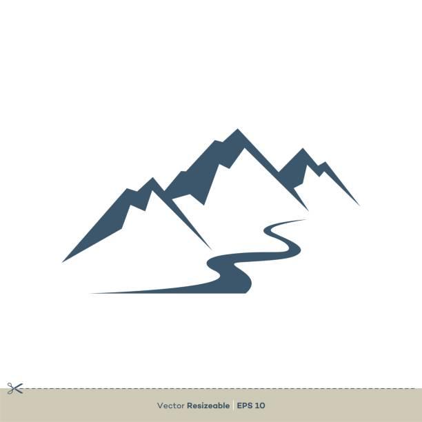 vulkan berg vektor logo vorlage illustration design. vektor eps 10. - bach stock-grafiken, -clipart, -cartoons und -symbole