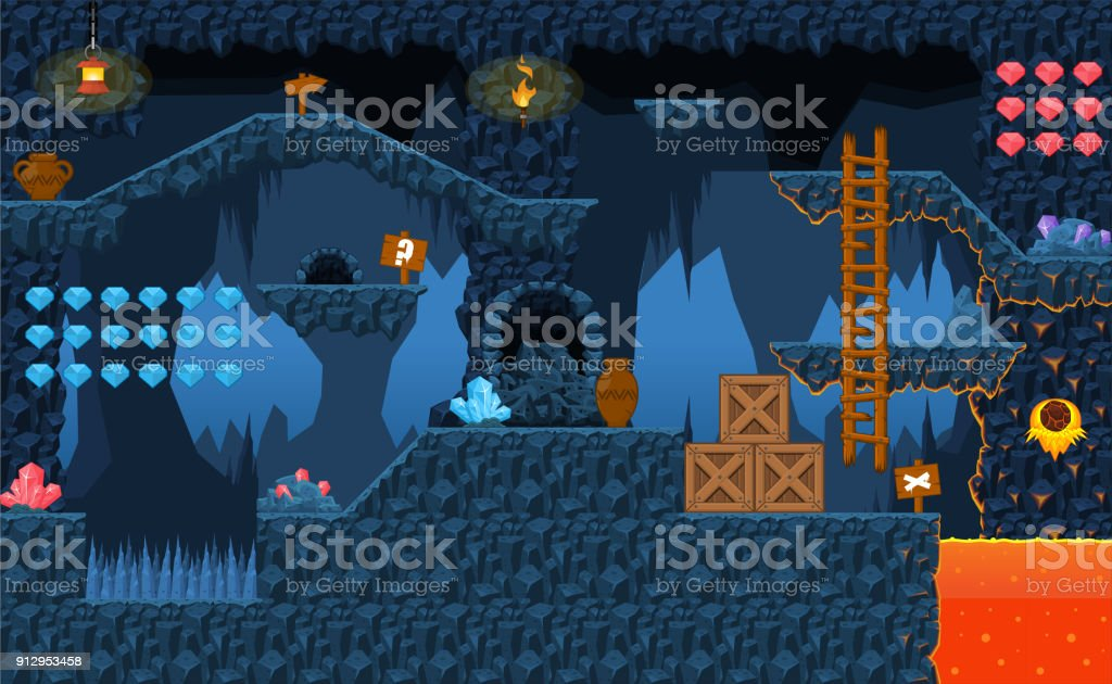 Volcano Platformer Tileset Stock Illustration - Download