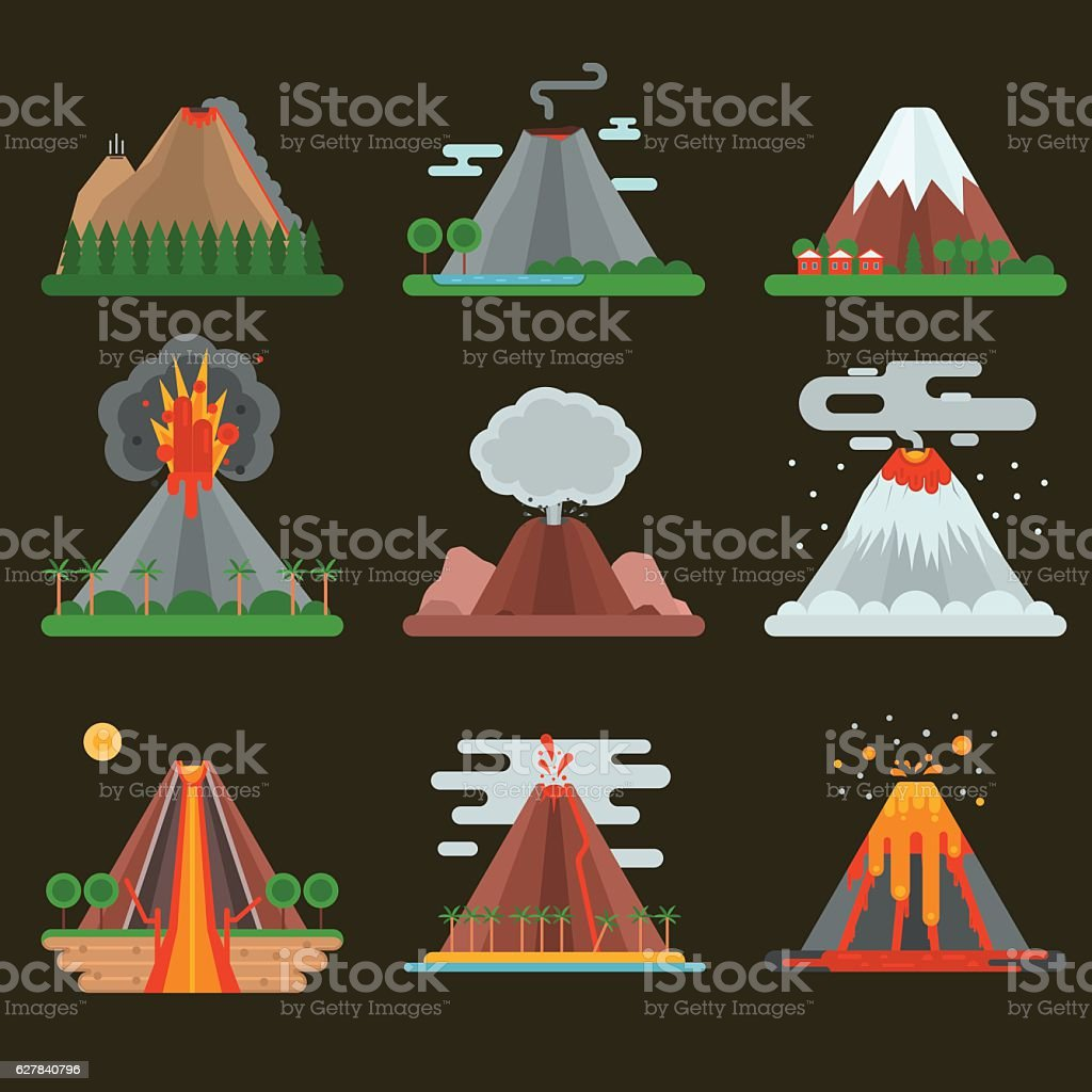 Volcano set vector illustration. vector art illustration
