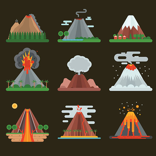 volcano set vector illustration. - vulkane stock-grafiken, -clipart, -cartoons und -symbole