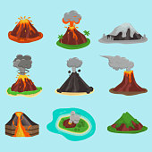 Volcano set vector illustration