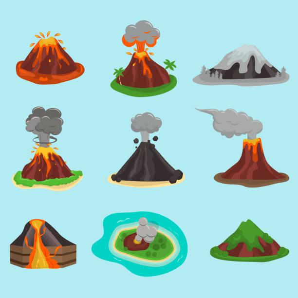 volcano set vector illustration - vulkane stock-grafiken, -clipart, -cartoons und -symbole