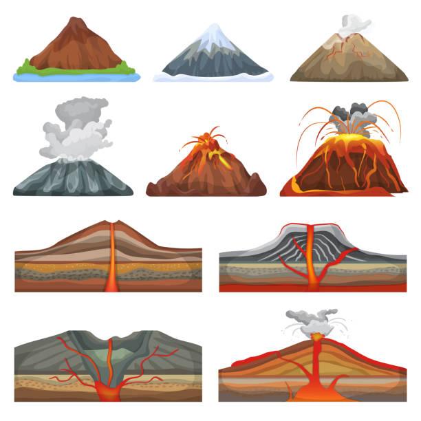 vulkan-vektor ausbruch und vulkanismus oder explosion krampf der natur vulkanischen berge abbildung satz der vulkanologie isoliert auf weißem hintergrund - vulkane stock-grafiken, -clipart, -cartoons und -symbole