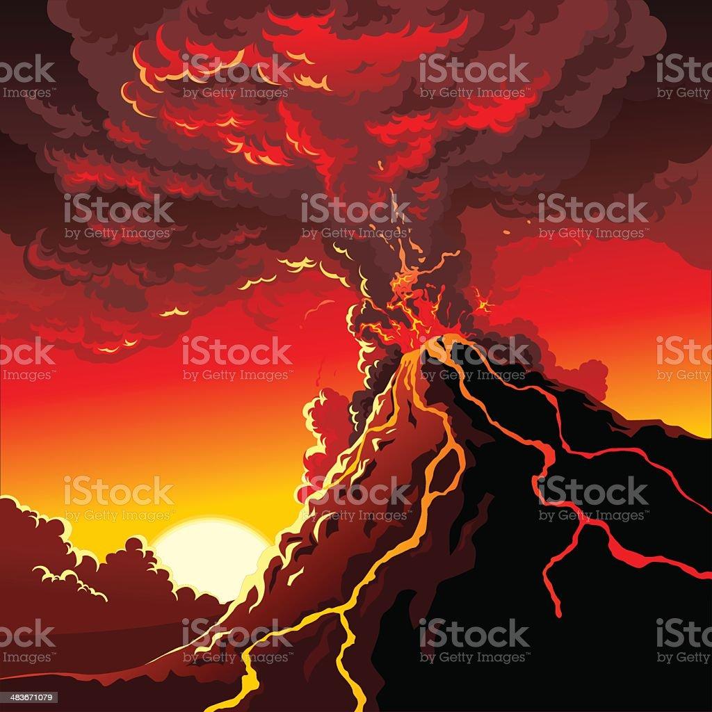 Volcano royalty-free stock vector art