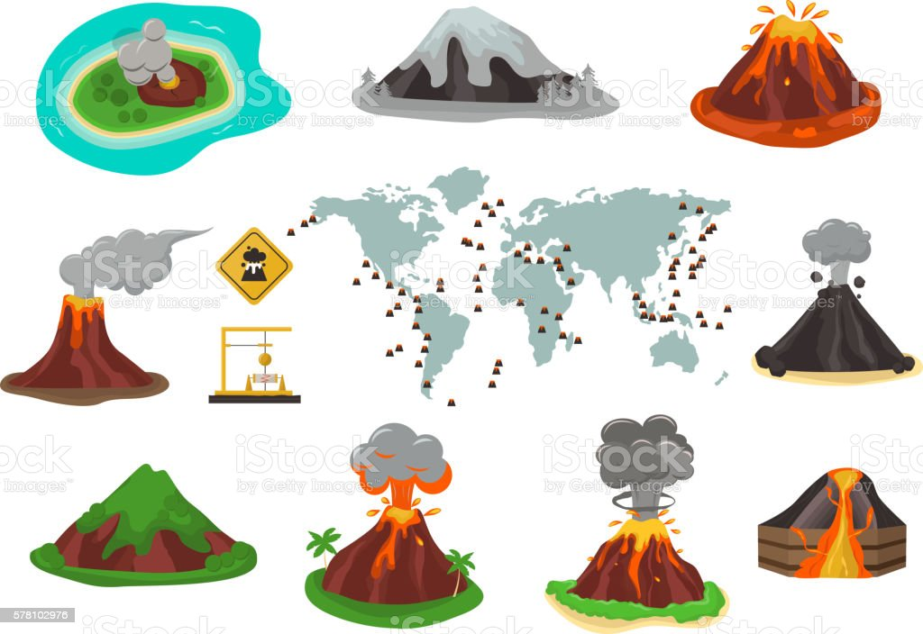 Volcano vector illustration. vector art illustration