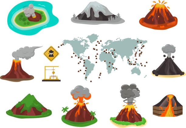 vulkan vektor-illustration. - vulkane stock-grafiken, -clipart, -cartoons und -symbole