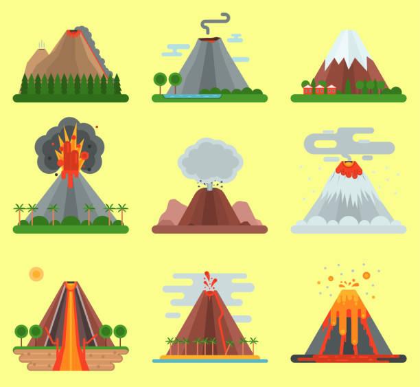 vulkan vektor magma natur sprengung mit rauch berg isoliert. krater vulkan feuer natürlichen ausbruch bergnatur. vulkan ausbrechen asche feuer hügel landschaft im freien geologie explodierende asche - vulkane stock-grafiken, -clipart, -cartoons und -symbole