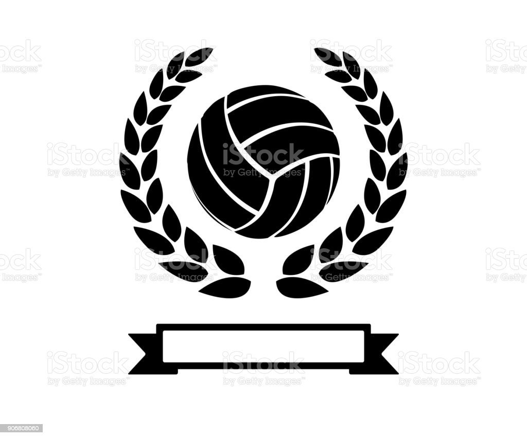 volley ball with wheat retro badge icon vector art illustration