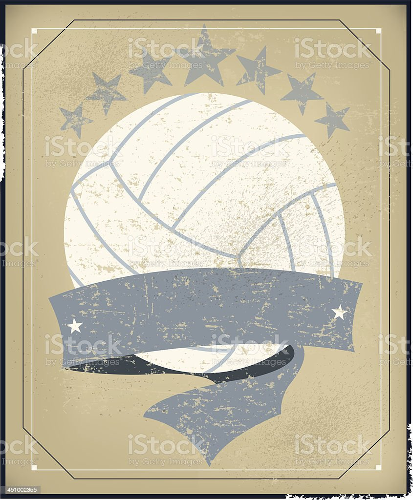 Volleyball All-Star Background with Banner - Retro royalty-free stock vector art