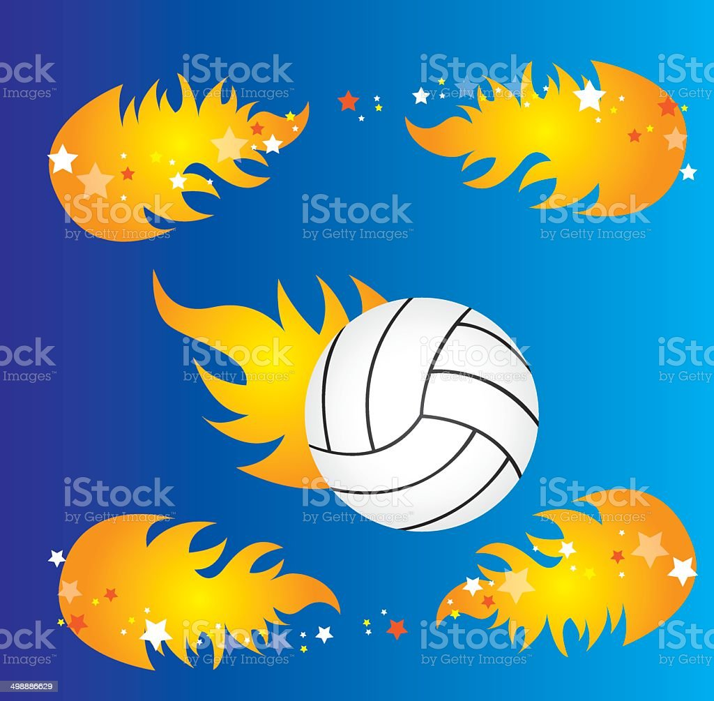 volleyball and fire royalty-free stock vector art