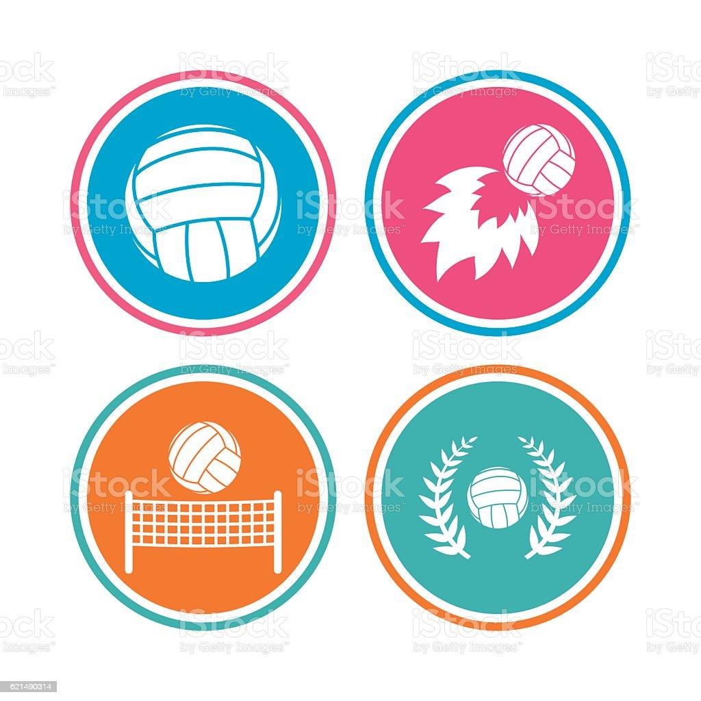 Volleyball and net icons. Winner laurel wreath. vector art illustration