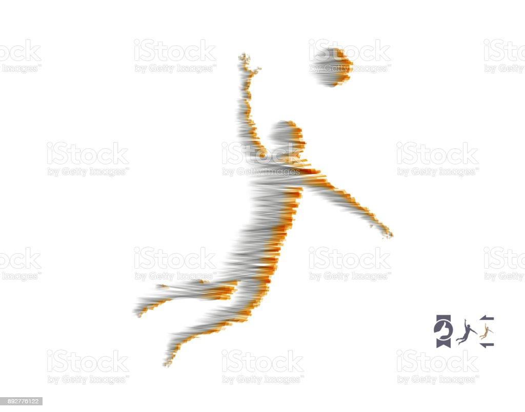 Volleyball athlete in action. Sport symbol. Vector illustration. vector art illustration