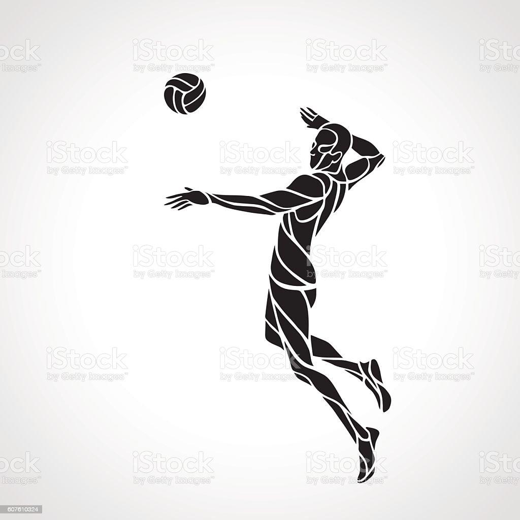 Volleyball attacker player silhouette vector art illustration