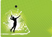 """Graphic silhouette background illustration of girls playing volleyball. Scale to any size. Color changes a snap. Check out my """"Flaming Sports Balls and more"""" light box for more."""