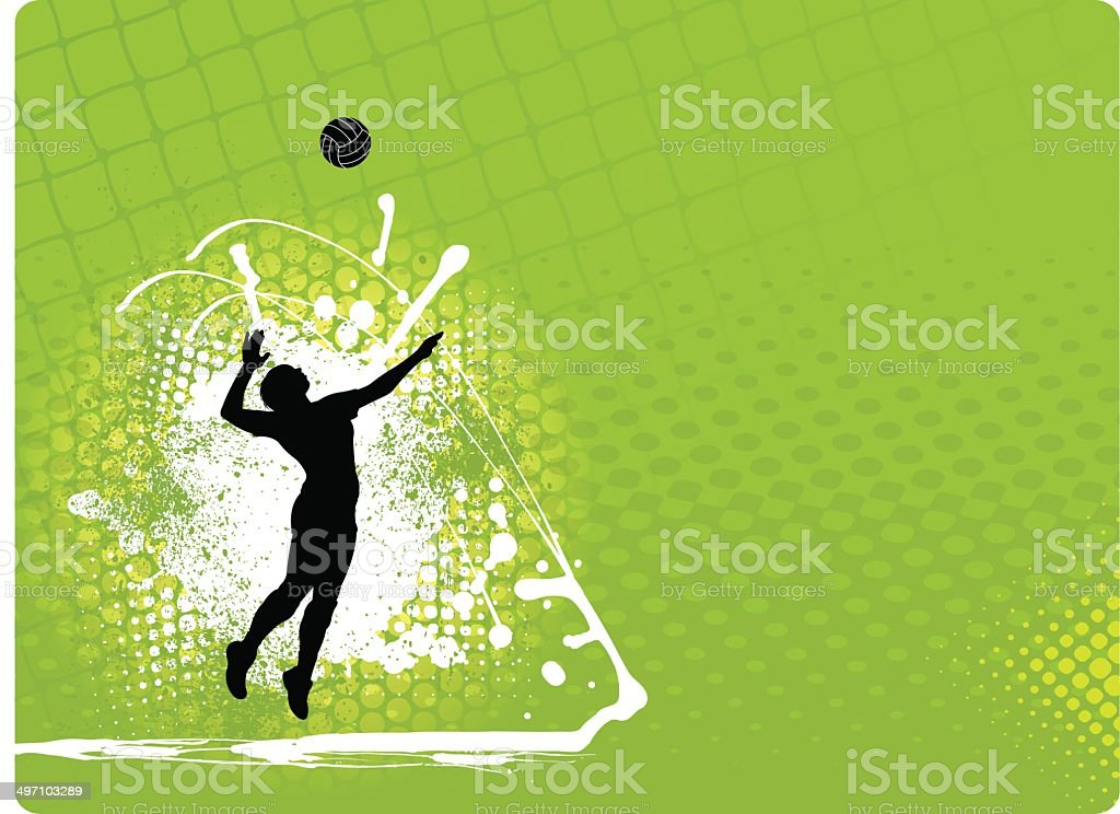 Volleyball Background - Girls vector art illustration