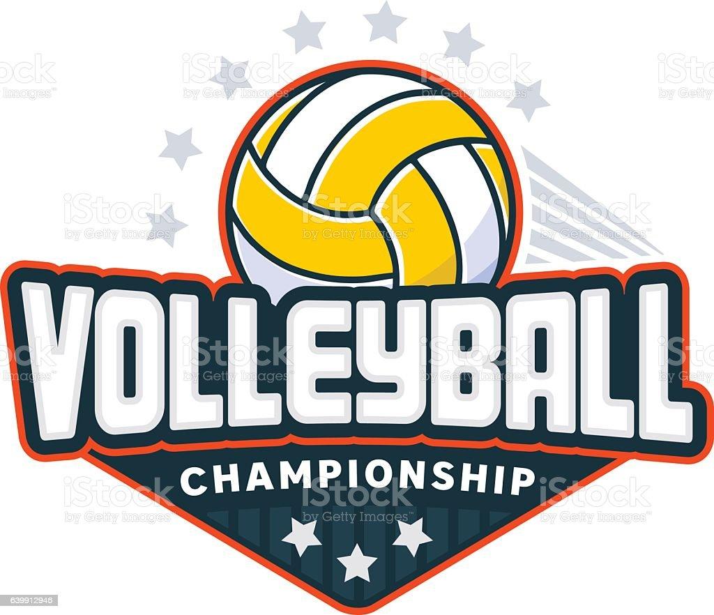 Volleyball badge logo vector art illustration