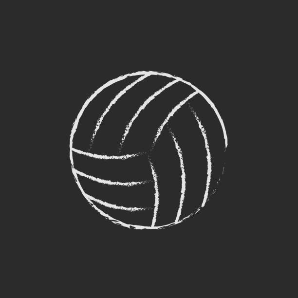 Volleyball ball icon drawn in chalk vector art illustration