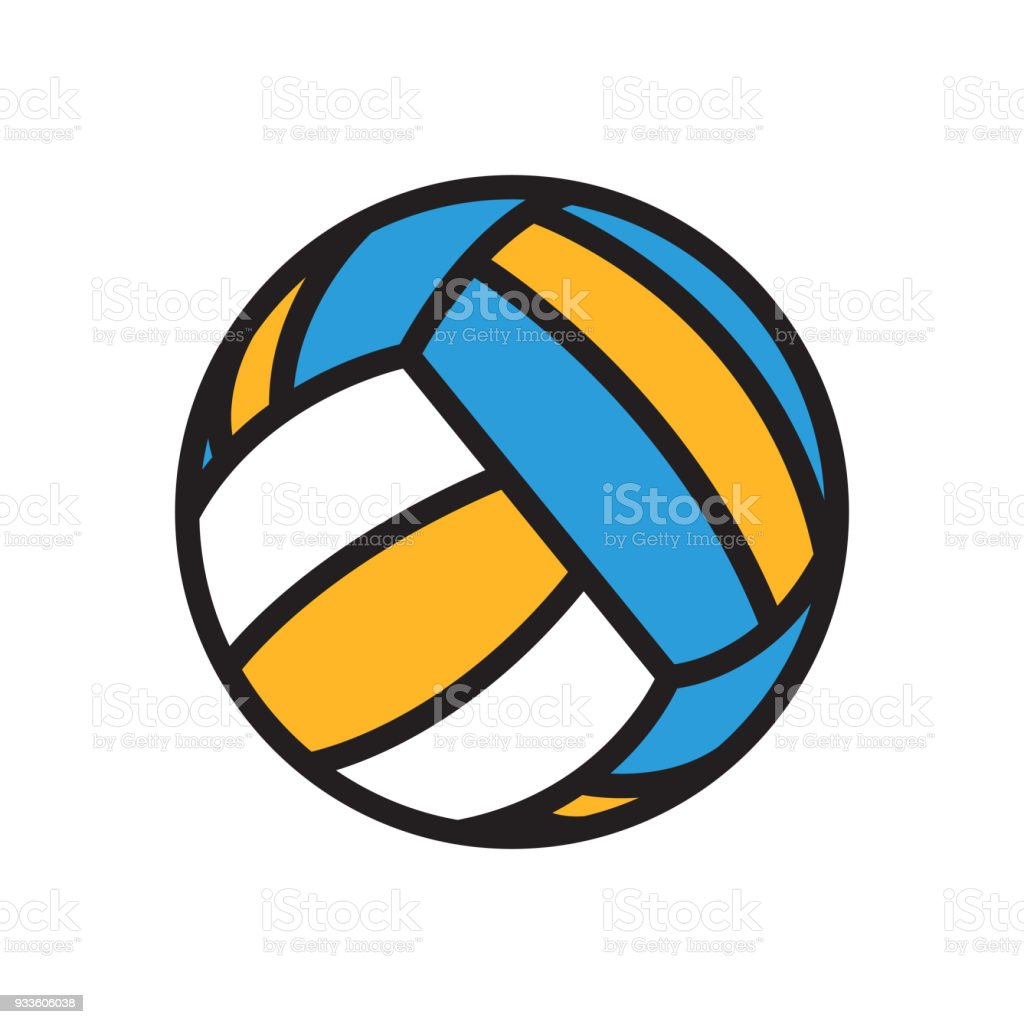 Volleyball ball icon isolated on white background vector art illustration