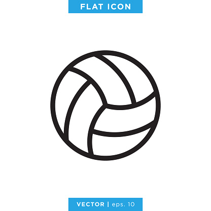 Volleyball Ball Icon Vector Stock Illustration Design Template.