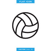 istock Volleyball Ball Icon Vector Stock Illustration Design Template. 1278388813