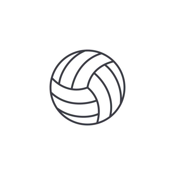 icono de delgada línea de pelota de voleibol. Símbolo de vector lineal - ilustración de arte vectorial