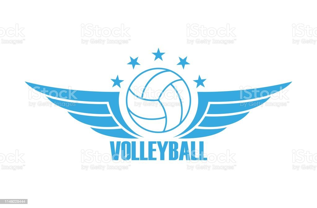 Volleyball Ball Wings Stars And Text Sport Club Logo Stock