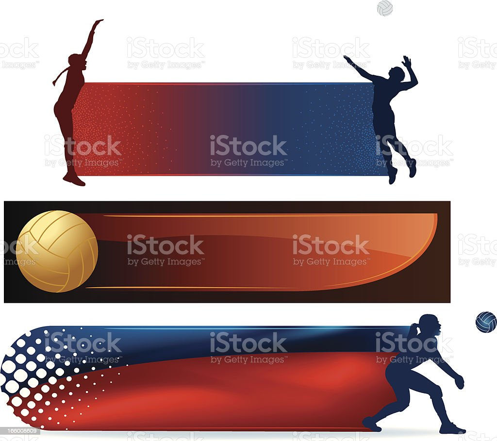 Volleyball Banner Backgrounds - Girls royalty-free stock vector art
