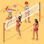 e1755b258 Volleyball Beach Field Summer Games 3D Vector Illustration ...
