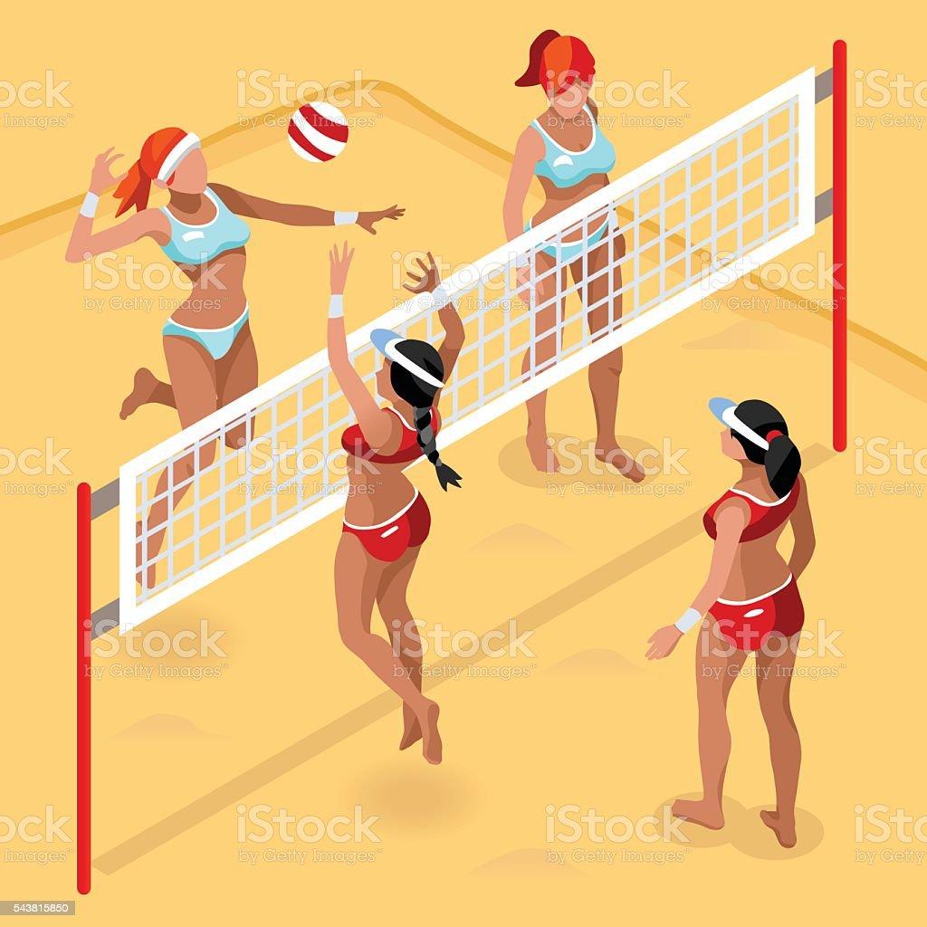 Volleyball Beach Field Summer Games 3D Vector Illustration vector art illustration