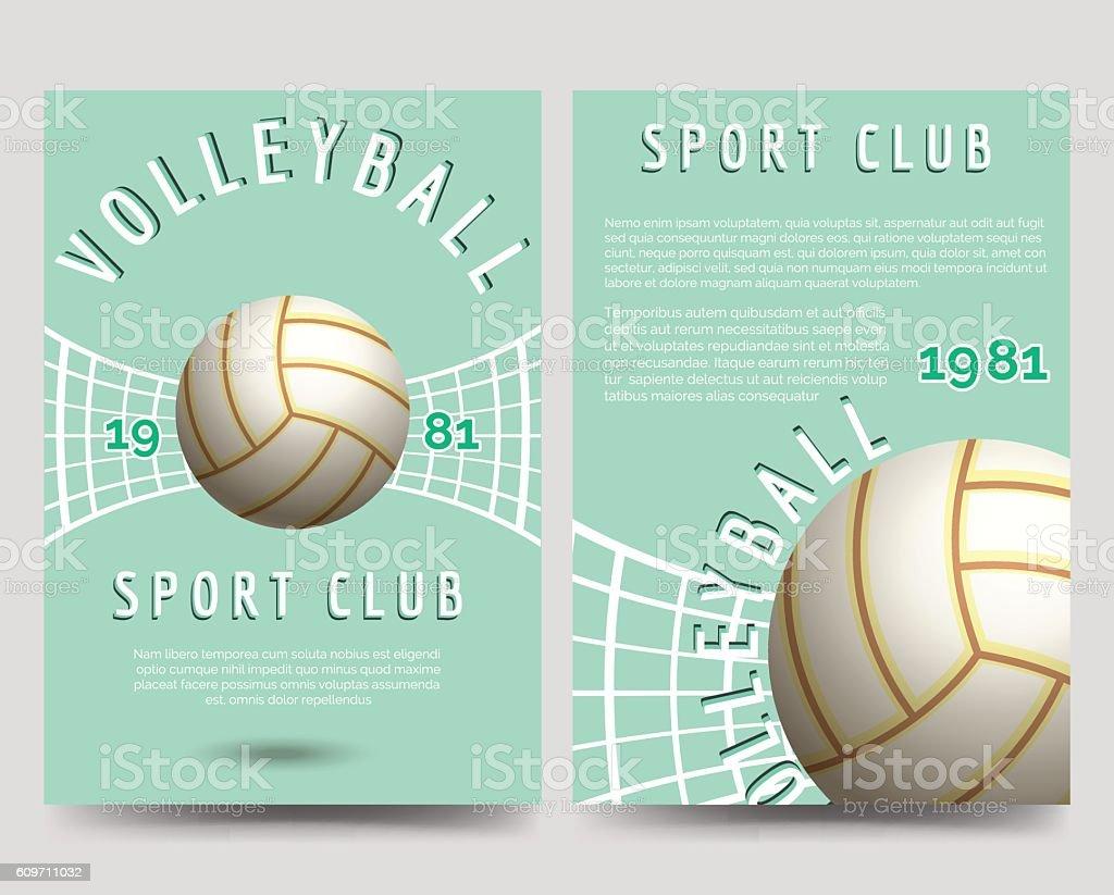 Volleyball brochure flyer template - ilustración de arte vectorial