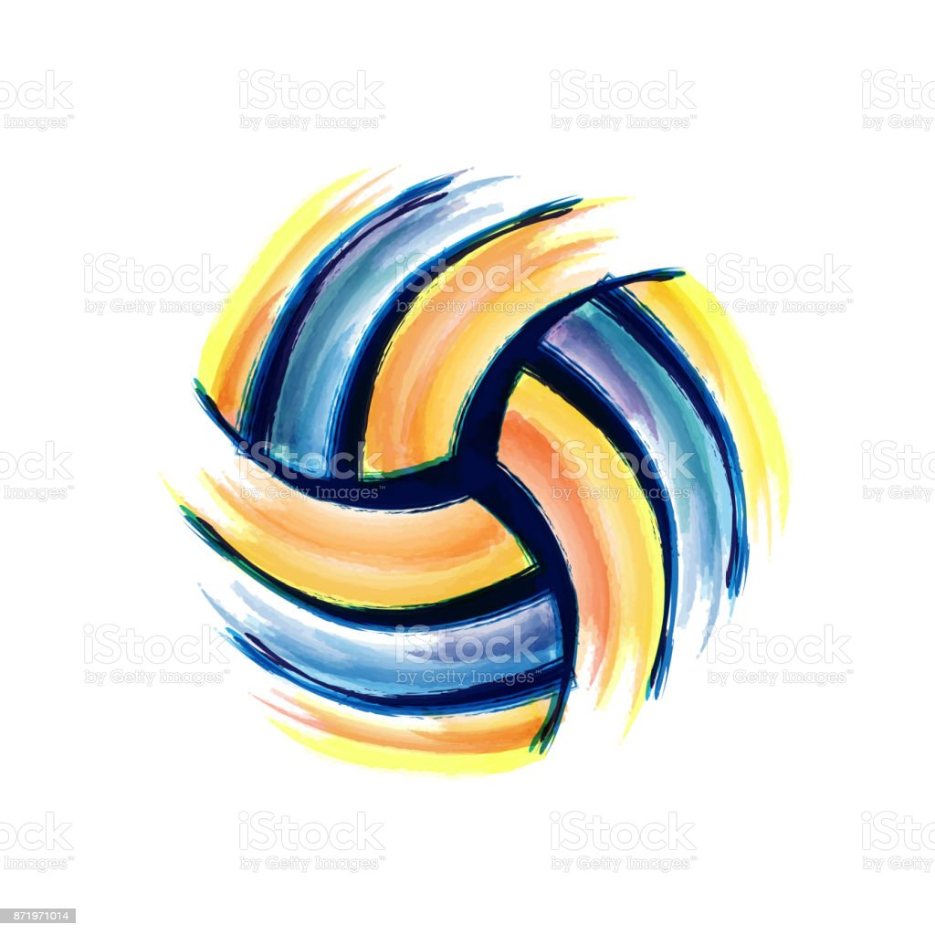 Volleyball brush background vector art illustration