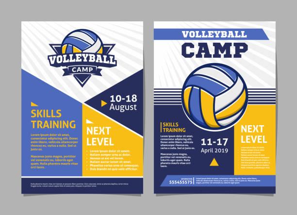 Carteles campos de voleibol, volante con bola de voleibol - diseño del vector plantilla - ilustración de arte vectorial