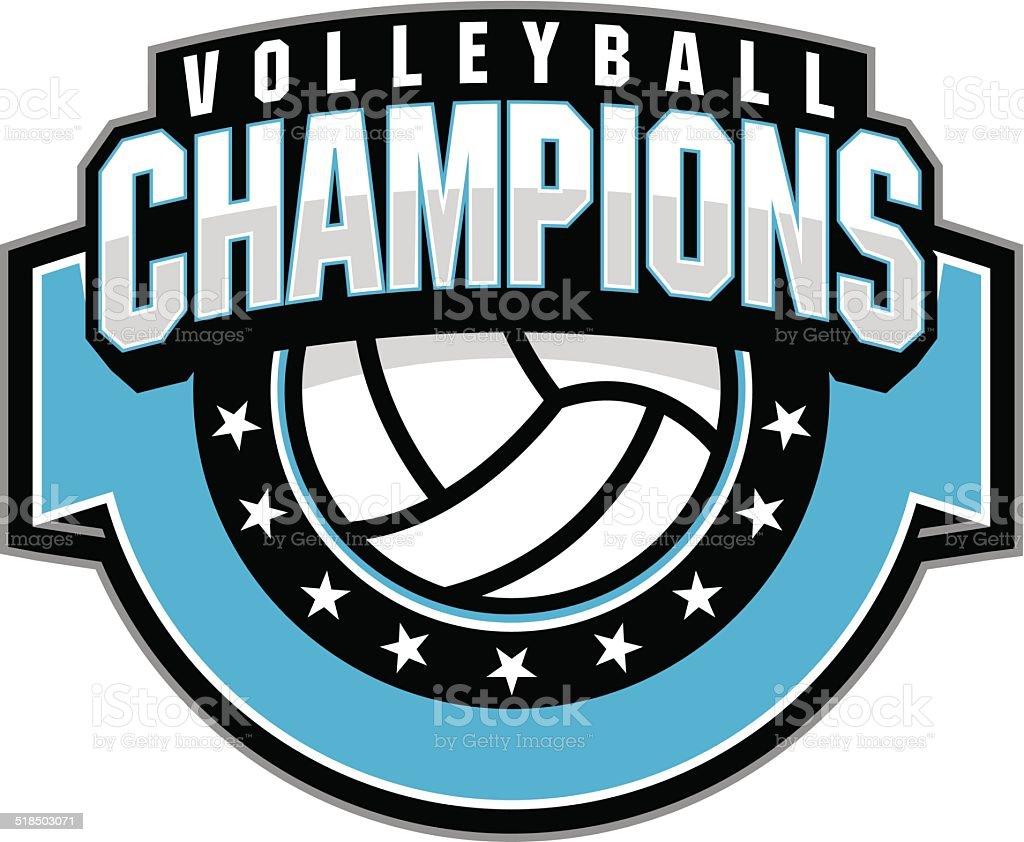 Volleyball champion vector art illustration