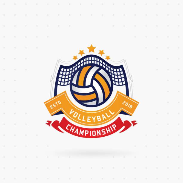 ilustrações, clipart, desenhos animados e ícones de design de logotipo de campeonato de voleibol - voleibol
