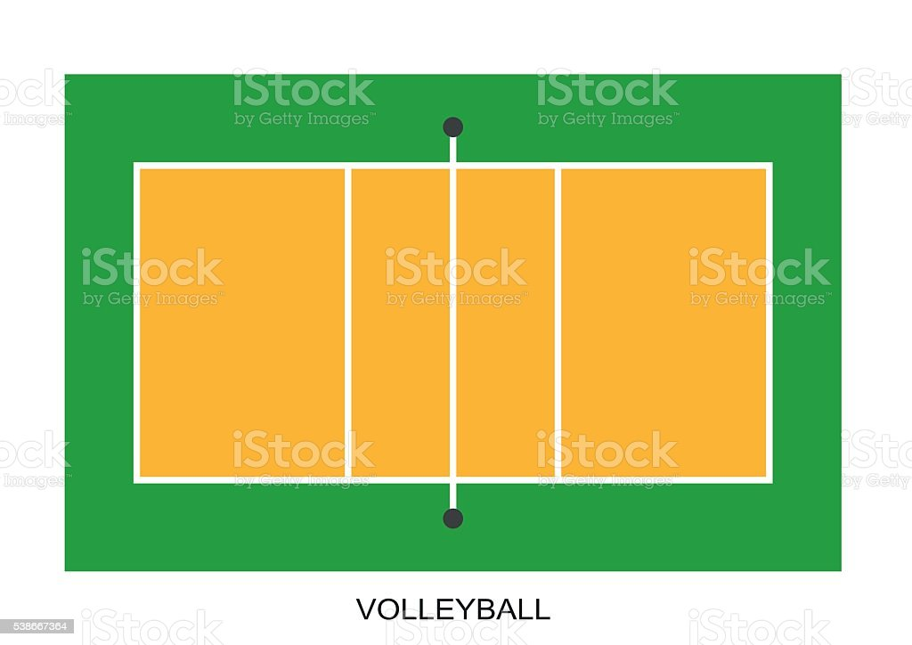 Volleyball court. Field isolated on white background vector art illustration