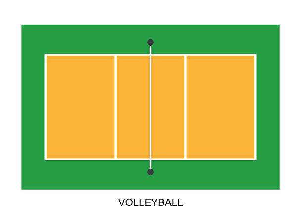 バレーボールのコートもございます。フィールド白の背景に隔てられた - バレーボール点のイラスト素材/クリップアート素材/マンガ素材/アイコン素材